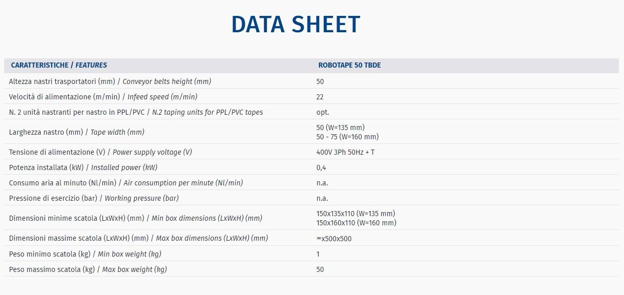 ROBOTAPE 50 TBDE - Data Sheet